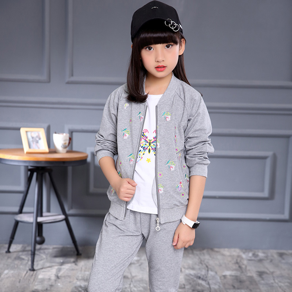 Kids Sports Suit Girl's Spring Sets Teenage Butterfly Coats + Shirt + Pants 3 PCS Girls Clothing Sets 4 6 8 10 12 14 Year children clothing sets for teenage boys and girls camouflage sports clothing spring autumn kids clothes suit 4 6 8 10 12 14 year