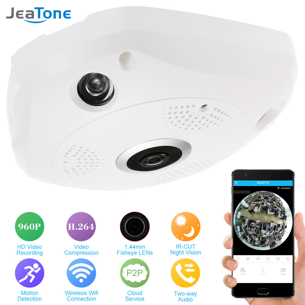 Caméra panoramique JeaTone 360 degrés IP 960 P HD 1.3MP caméra IP Wifi deux voies Audio oeil de poisson panoramique caméra de vidéosurveillance intérieure de sécurité
