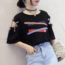 Letter Print T-Shirt Top Fashion Womens Short Sleeve Vest Bandage shirt Blusas female  Tie top