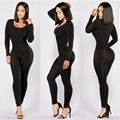 O Neck Long Sleeve Solid Basic Women Sexy Rompers Full Bodysuits Sexy Skinny Women Jumpsuits