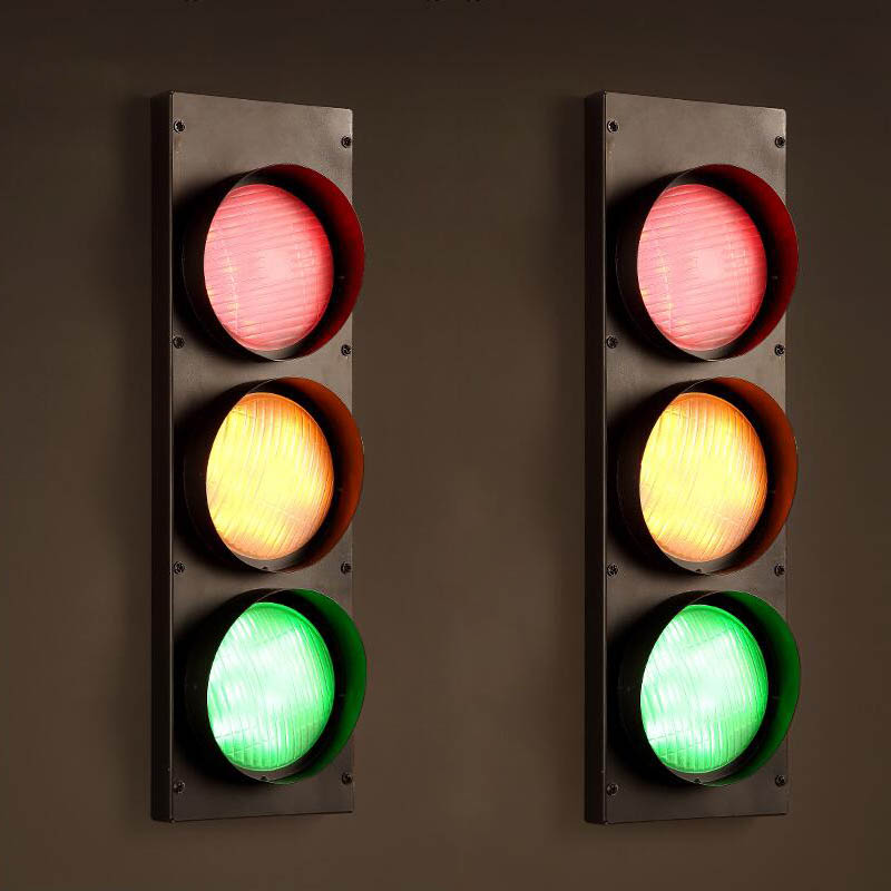 Loft American Vintage Traffic Lights LED Wall Lamps Industrial Style Sconce  220V Iron Indoor Lighting Bar Coffee Lamp Light In LED Indoor Wall Lamps  From ...