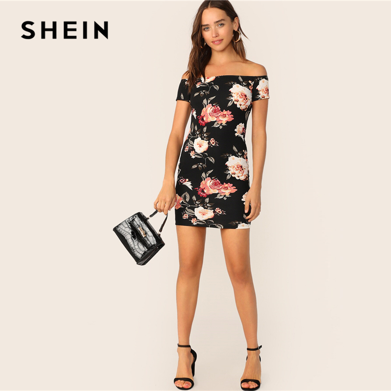 Image 4 - SHEIN Flower Print Bardot Pencil Dress Black Off the Shoulder Slim Women Summer Dress 2019 Sexy Cap Sleeve Bodycon Dresses-in Dresses from Women's Clothing