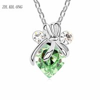 ZK KH ONG 2017 Fashion Creative Dragonfly Pendant Necklace Romantic Crystal Heart Combination Zircon Dragonfly Necklace