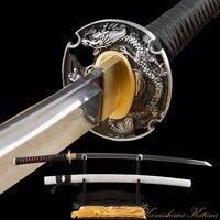 Иайдо обучение в сложенном виде Сталь японский самурай катана меч Дамаск сложенном Сталь Sharp Полный Тан Битва готов дракон цубы
