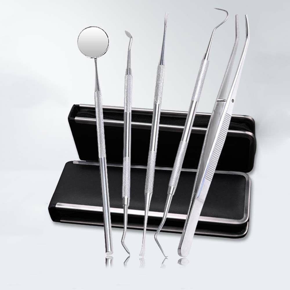6pcs Dental Tools Kit Teeth Tartar Scraper Mouth Mirror Oral Pick Tool Teeth Scaler Stainless Steel Individual & Professional 1