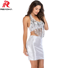 Sexy Women Sliver Tassel Sequins 2 Two Piece Summer Dress Halter Fashion Bandage Backless Luxury Nightclub Party Dresses vestido