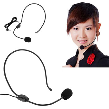 Wired Presentation Amplifier Speaker Condenser Headset Microphone Mic for connecting voice amplifier or PC microphone port
