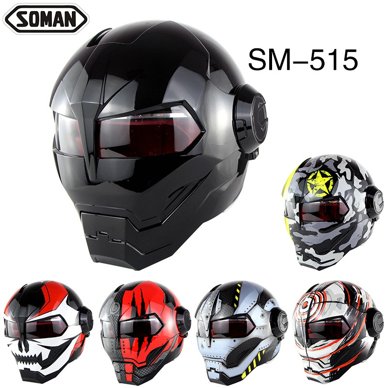 (1pc&13colors) High Quality Ironman Flip Up Helmet ABS Casque Motorcycle Full Face Helmets Motocross Casco Capacete Brand SM-515 masei mens womens war machine gray ironman iron man helmet motorcycle helmet half helmet open face helmet abs casque motocross