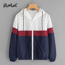 5d53a9ebed033 ROMWE primavera otoño moda con Capucha con cordón chaqueta rompevientos  Zipper bolsillos Casual manga larga Color bloque Outwear.