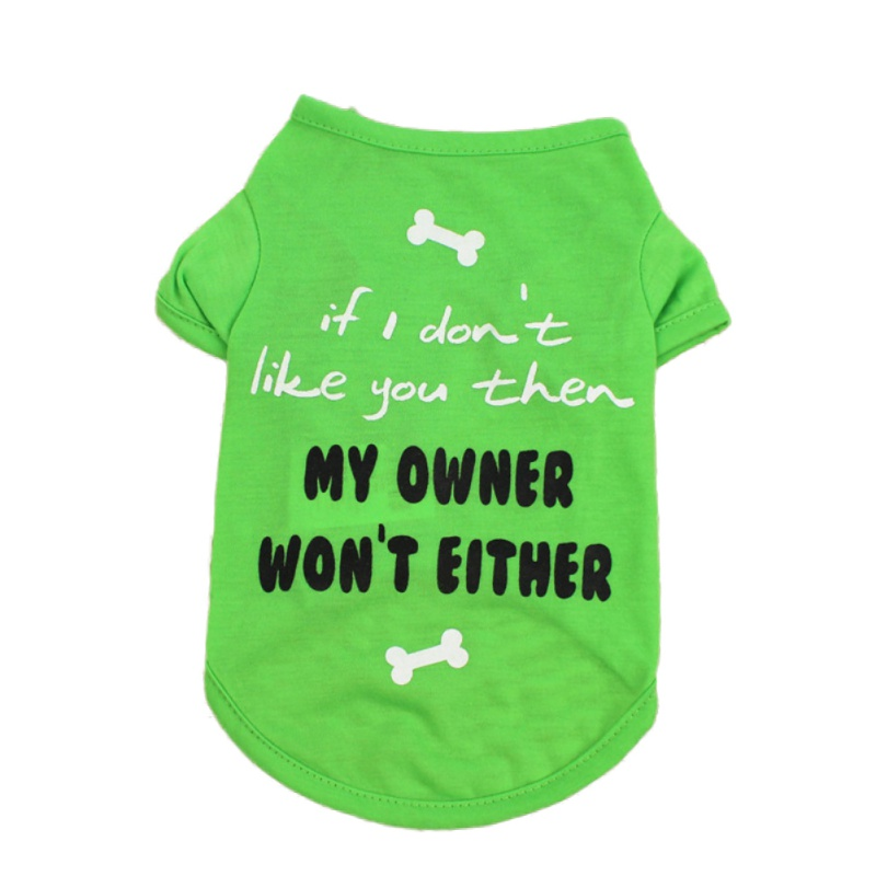 Pets Dog T-shirt Letter Bone Printed Short Sleeves Vest Spring Autumn Summer Pet Clothes for Dogs