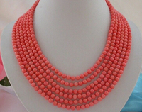 charming 6ROW 4mm round PINK coral beads necklace j797 Factory Wholesale price Women Giftword Jewelry