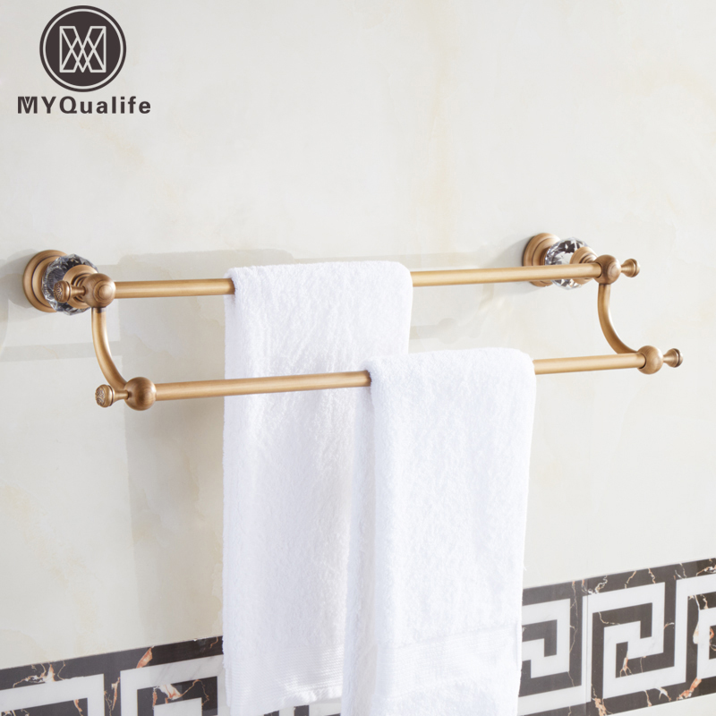 Luxury Brass Crystal Bath Towel Bar Wall Mounted Towel Shelf Double Towel Shelf Rod Antique Brass/Black Color whole brass blackend antique ceramic bath towel rack bathroom towel shelf bathroom towel holder antique black double towel shelf