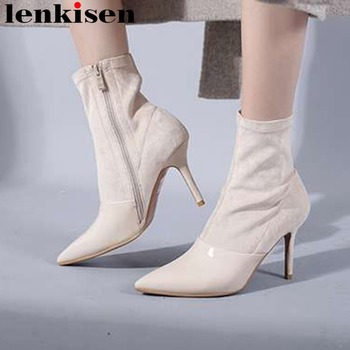 European sation high thin heels sexy lady solid classic pointed toe natural leather zipper plus size rome mid-calf boots L15