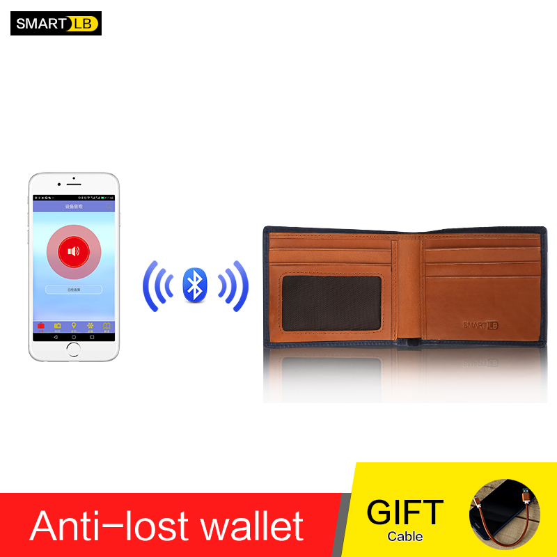 Men Genuine Leather Anti Lost Intelligent Bluetooth Smart Wallet Men GPS Locator Wallet