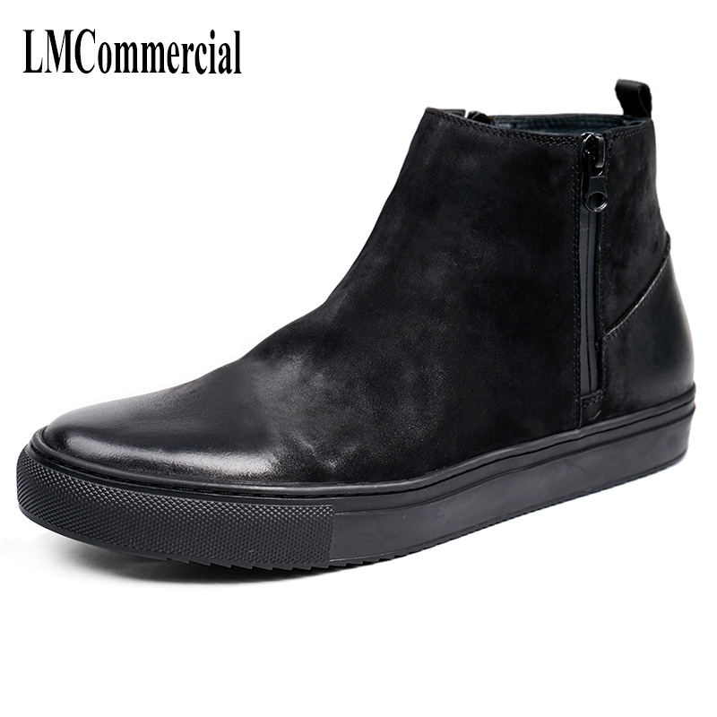 Martin boots men leather shoes with British retro casual shoes men boots velvet warm winter Chelsea boots men shoes high top 2017 new autumn winter british retro men shoes zipper leather breathable sneaker fashion boots men casual shoes handmade