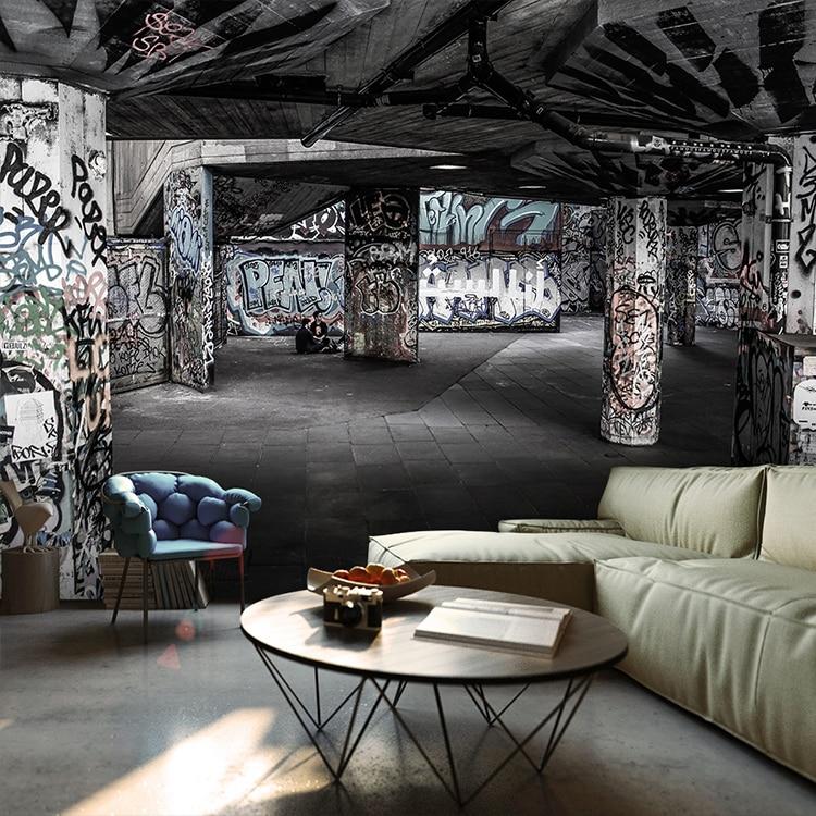 Custom 3d mural brick wall graffiti art retro industrial Old warehouse KTV bar sofa TV background cement mural wallpaper