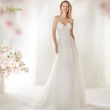 Loverxu Wedding Dress Sleeveless Bride Dress Court Train