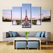 5 Panel Eiffel Tower Paris Square Fountain Modern Home Wall Decor Canvas Picture Art HD Print Painting On Canvas For Living Room
