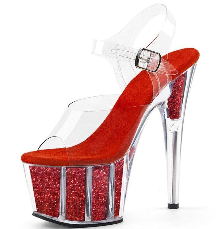 17 Cm Cm 15 Haute Ultra Plate Glitter Chaussures Défilé 2018 D'été 17 forme Transparent Ou Patchwork Sandales Cm Pvc Femme Talons 15 Femmes O1AgW6PB1