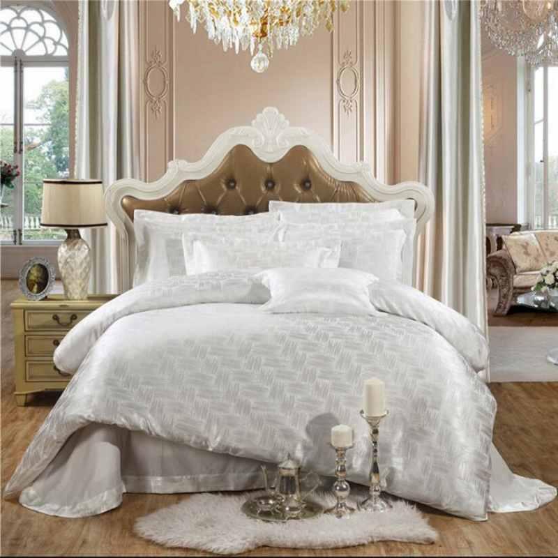 Blanco jacquard textiles para el hogar juego de cama de lujo 4 unids Homenaje Se