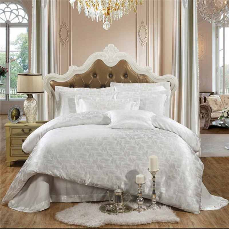 White Jacquard Home Textile Bedding Set Luxury 4pcs Tribute Silk Bed Set Duvet Cover Queen King