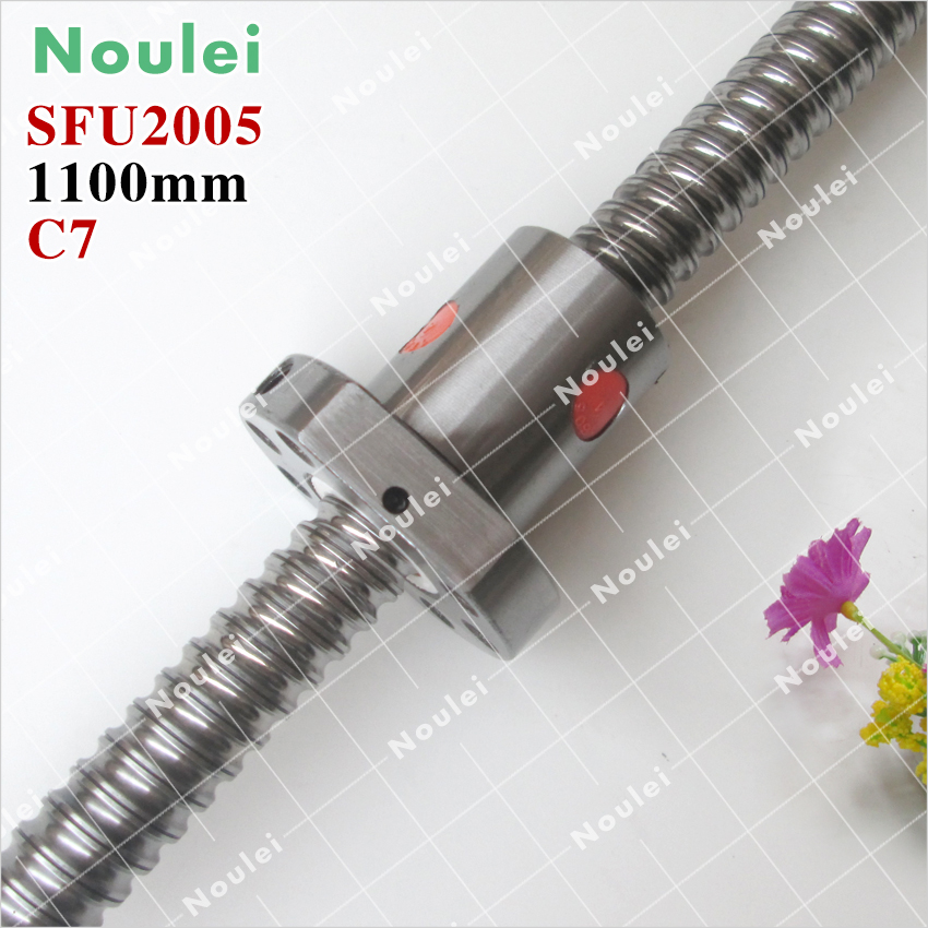 ФОТО Noulei C7 Rolled ball screw custom,5mm lead SFU2005 ball screw 1100mm with 2005 ball nut