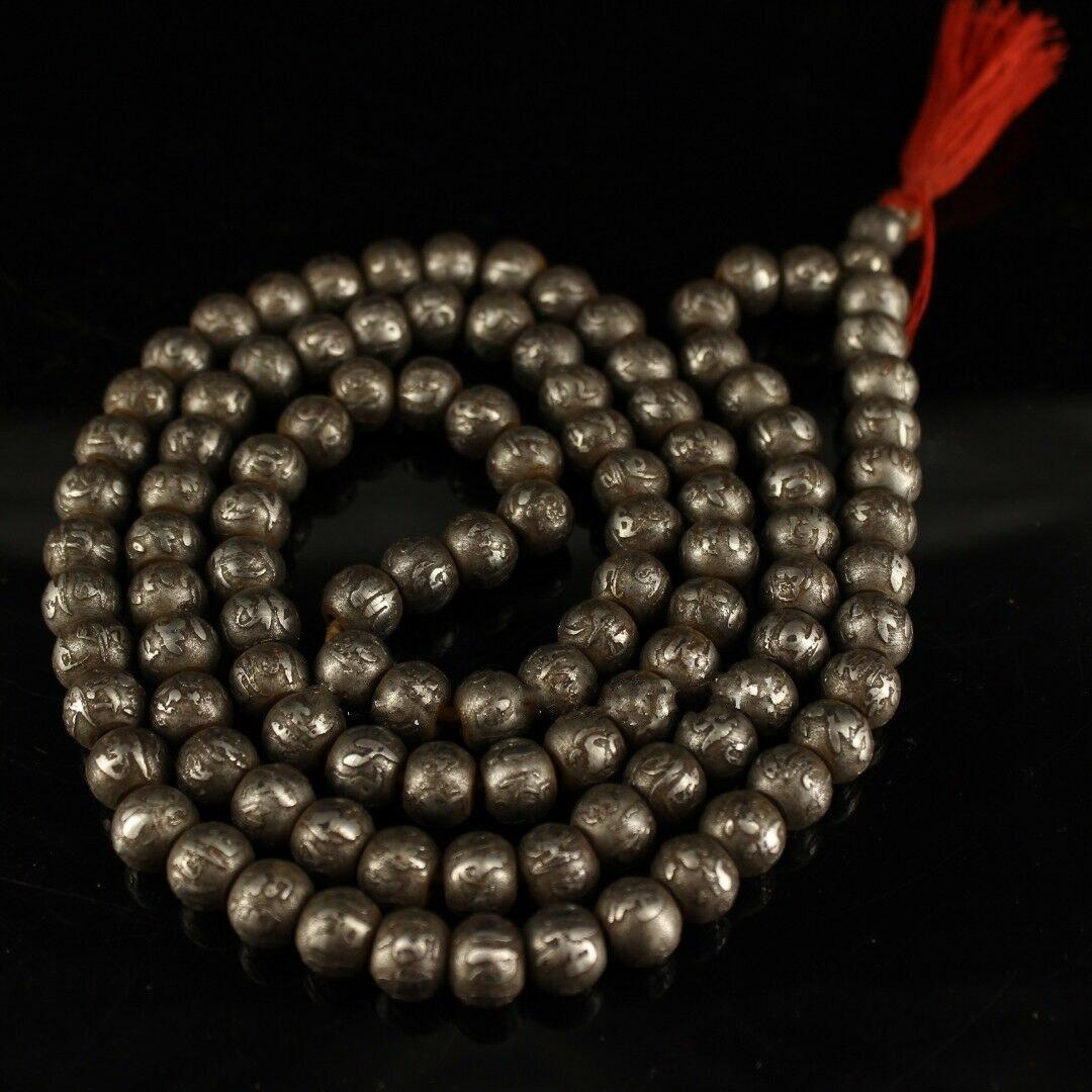 Chinois Antique Tibet Temple météorite sculpté Six syllabe Mantra 108 perles main chaîne collier