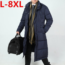 plus size 8XL 7XL Top Quality Warm Men's Warm Jacket Windproof Casual Outerwear Thick Medium Long Coat Men Parka Cotton-padded