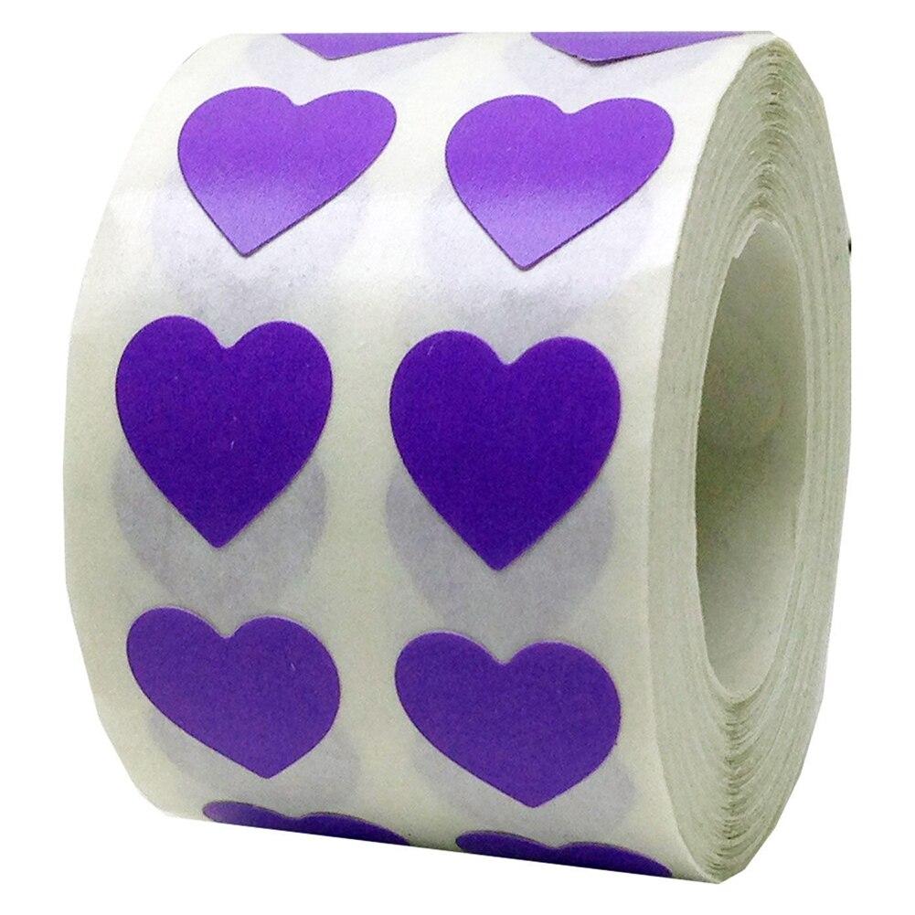 Рулон Любовь Сердце этикетки наклейки свадебный подарок упаковка герметизация Искусство Наклейка упаковка мешок - Цвет: Фиолетовый