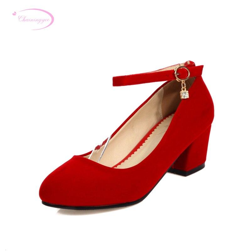 Chainingyee simple fête style confortable bout rond pompes mode ceinture boucle noir rouge diamant med avec chaussures pour femmes grande taille