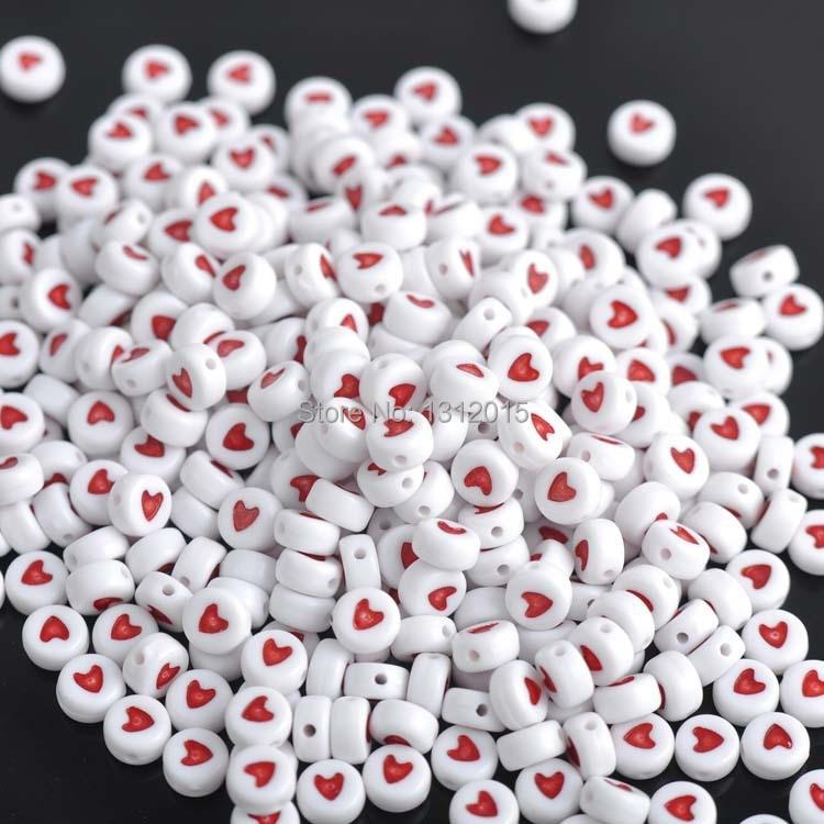 200 шт 7 мм Смешанные плоские круглые бусины в форме сердца, акриловые бусины для изготовления ювелирных изделий YKL0188X