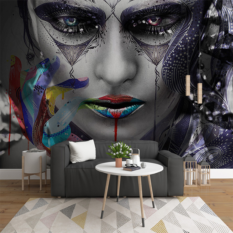 Custom 3D Multicolored Beautiful Woman Personality Wall Cloth Wallpaper For Living Room Background Wall Decor Papel De Parede 3D