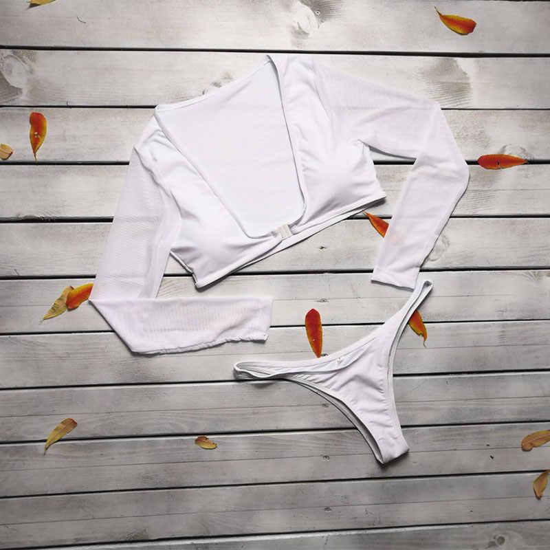 Bayan Dalma Uzun Kollu Kravat Düğüm Ön Yüksek Bel Tanga bikini seti 2 Parça Mayolar Cut Out Seksi Banyo Sun Suit katı