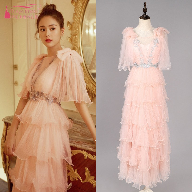 Dusty Pink Tiered Pretty Girl   Prom     Dresses   2019 Ankle Length Tulle Formal   Prom   Gown Evening   Dress   In Stock DQG769