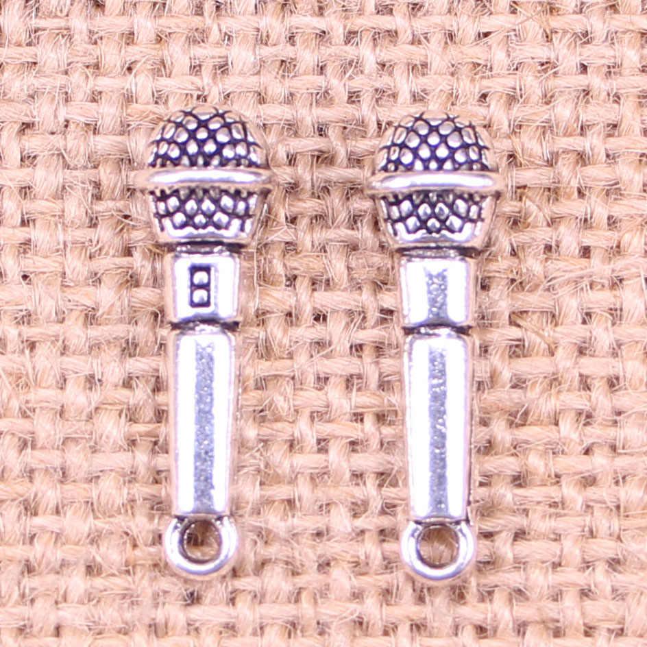 14 шт. ювелирные подвески микрофон 25x7 мм Античные с серебристым покрытием Подвески Ювелирных изделий DIY тибетское серебро ручной работы ювелирные изделия