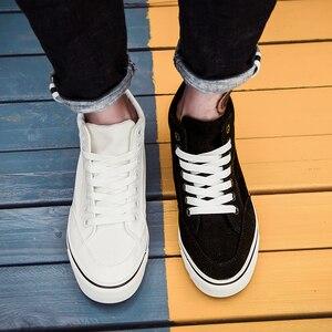 Image 5 - Chaussures classiques en toile pour homme, chaussures de sport à lacets, nouvelle tendance printemps automne solides et plates vulcanisées avec chaussures décontractées