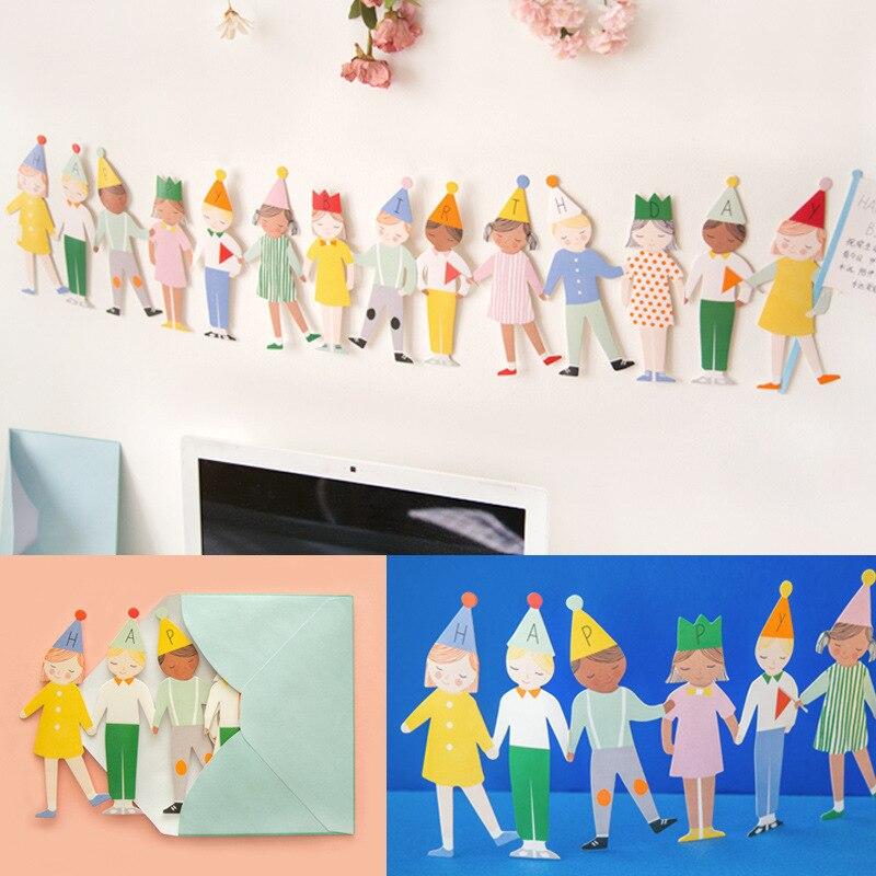 1 32 23 De Descuento Tarjeta De Fiesta De Cumpleaños Creativa Tridimensional Tarjeta De Cumpleaños Lindos Niños Mano En Tarjetas De Regalo Tarjeta