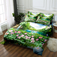 Custom size 3D Bedding set twin king Queen day duvet bed cover luxury California Sheet Quilt Cover Pillowcase Lotus print