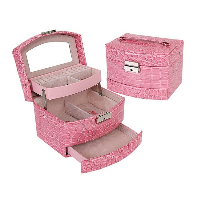 Small Jewelry Carrying Case 3 Layers Crocodile Print