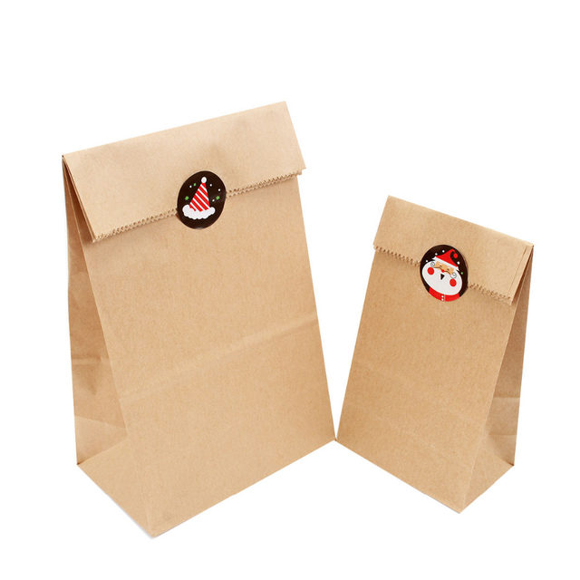 Lincaier 12pcs Brown Kraft Paper Bag Christmas Stickers Gifts Bags Decorations Wedding Candy Wring Party Gift New Year 2019
