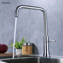 Chrome Plated Brass Kitchen Faucets Cold And Hot Water Mixers Rotation Handle Deck Mounted Kitchen Tap цена 2017