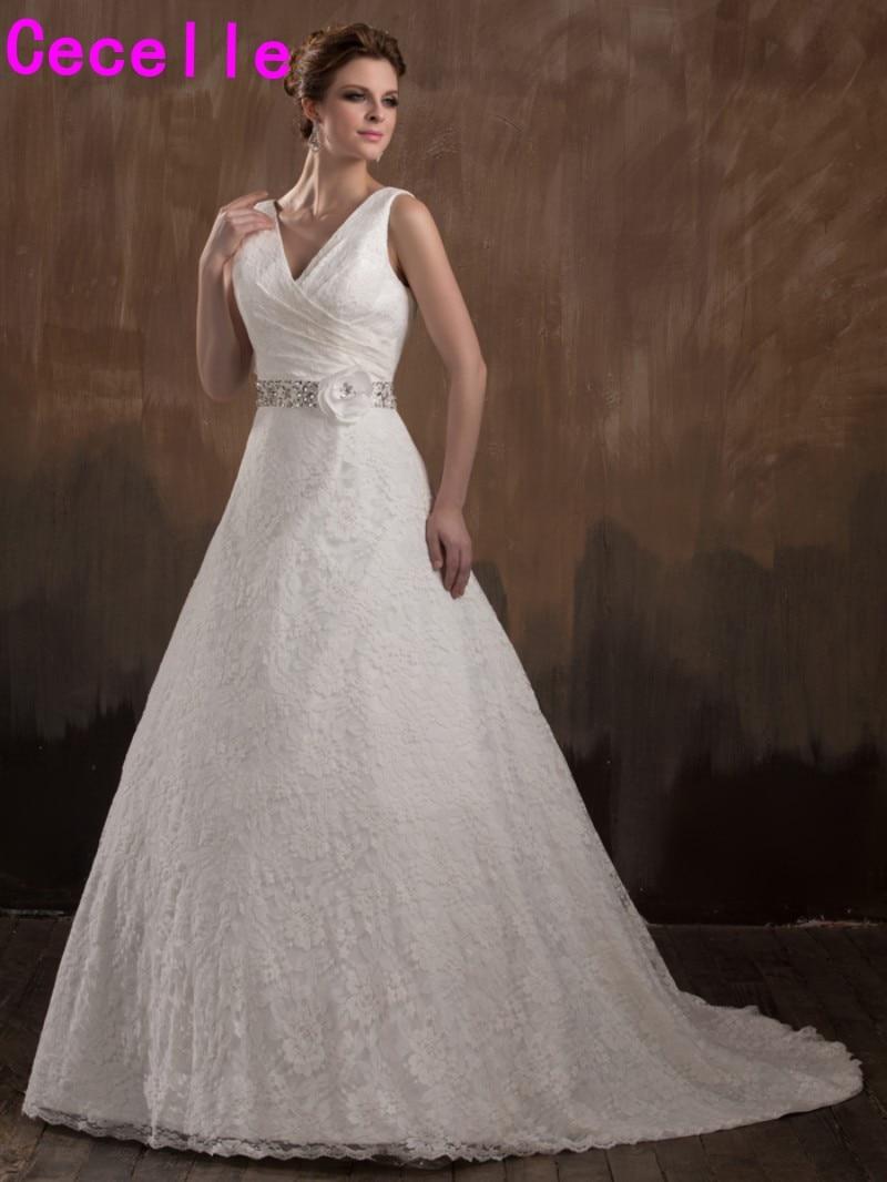 Online Shop Real Designer A Line Vintage Lace Wedding Dresses With Straps Ivory Princess V Neck Bridal Gowns Custom Made Robe De Mariee