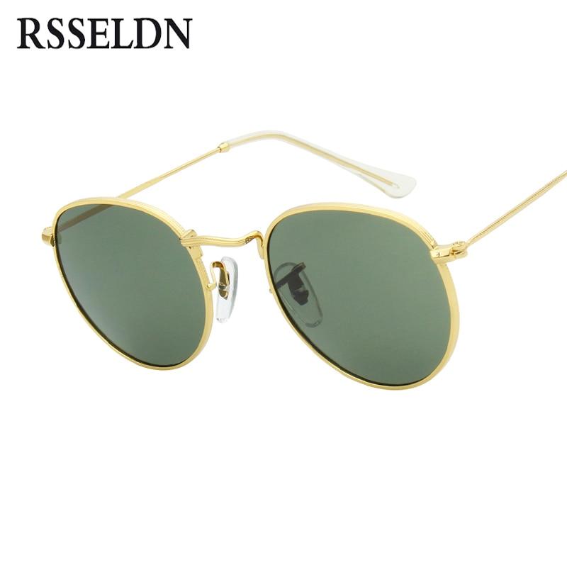 a2082ea6e0 RSSELDN Retro Round Sunglasses Women Men Brand Designer Sun glasses for  Women s Alloy Mirror Glasses lentes female oculos de sol