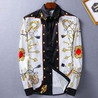Men Shirt Luxury Brand Design Printed Mens Dress Shirts Casual Cotton Slim Fit Long Sleeve Shirt Men Chemise Homme