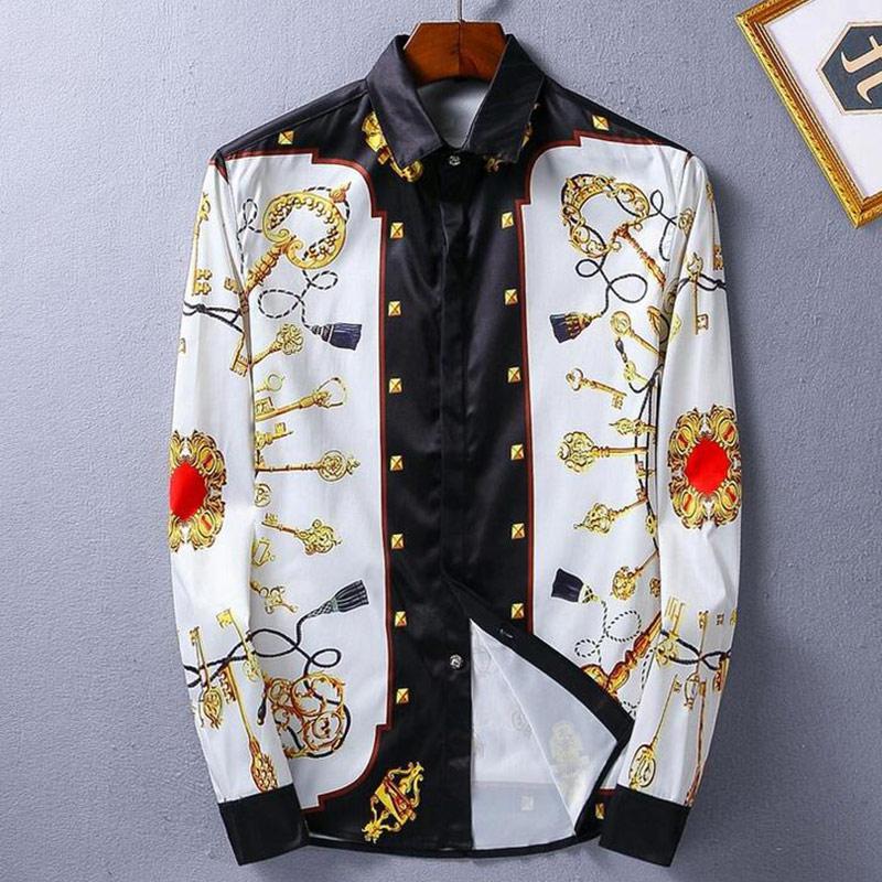 百思买 ) }}Men Shirt Luxury Brand Design Printed Mens Dress