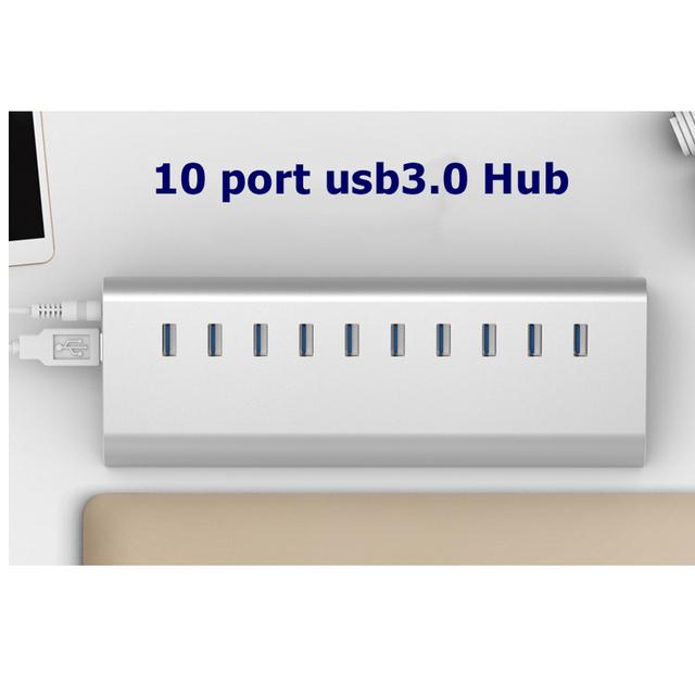 2016 Novo 10 portas USB3.0 HUB com fonte de alimentação de extensão usb suporte 6 Tb HDD
