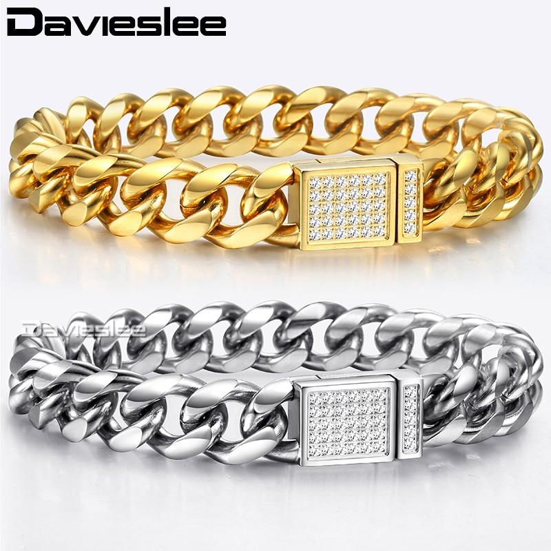 все цены на Davieslee Curb Cuban Link Bracelets For Men Boy Silver Gold Tone 316L Stainless Steel CZ Magnetic Clasp Bracelet 12mm HBM119 онлайн