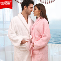 AZO Free 100% most thickening cotton bathrobes toweling robe lovers robe soft