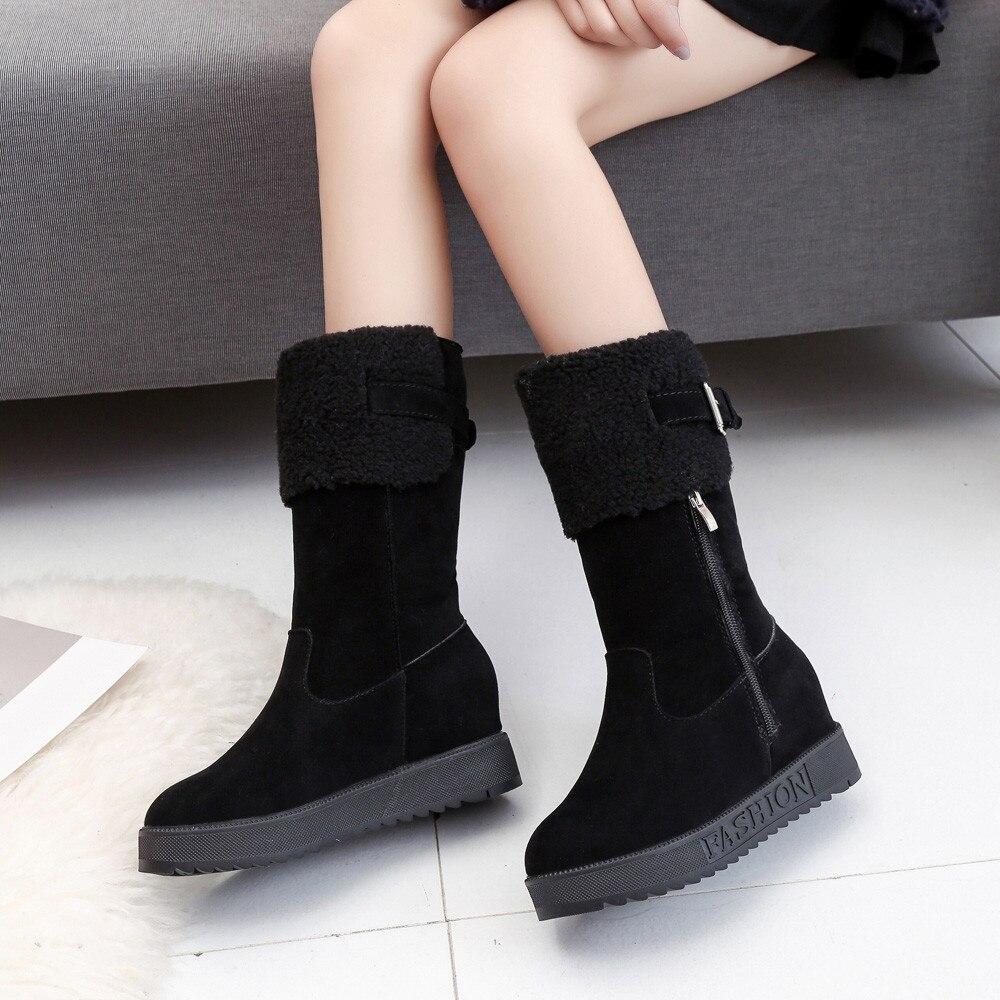 Sólido negro Suede Felpa Correa Caliente De Hebilla Cuñas Mujeres Zapatos Khaiki Mantener Plantilla Nieve Color Redonda Punta Botas tCTwXqw