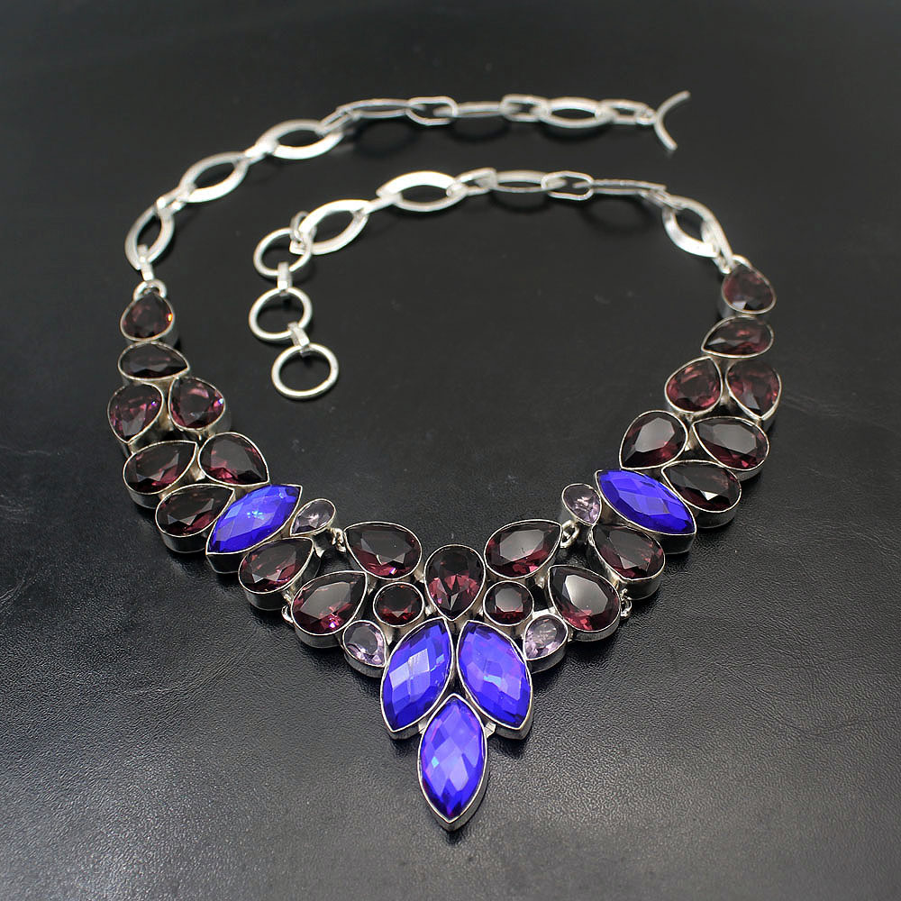 Hermosa Mystic Topazz améthyst925 collier en argent Sterling colliers ras du cou 17.5 pouces BN11 cadeaux de maman de bal